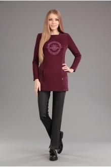 Эола-стиль 1273 туника бордо+брюки черные