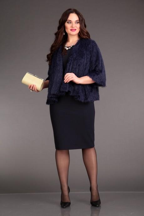 Юбочный костюм /комплект Лиона-Стиль 570 синий+синий