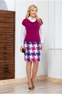 Azzara 353Е  блузка-белая+юбка-клетка+жилет-фуксия