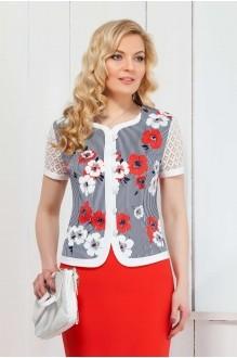 Azzara 387К полосатый жакет в цветы и коралловая юбка