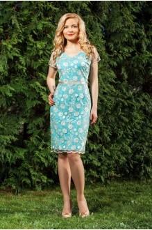 Azzara 411/1 нежно-золотое кружевное платье с бирюзовой подложкой.