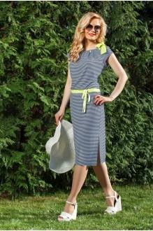 Azzara 415 полосатое платье со светло-салатовой отделкой