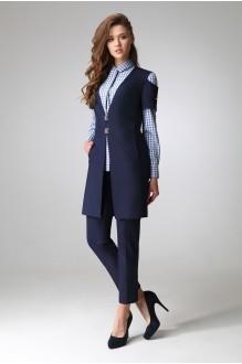 ЛаКона 1044 темно-синий/блуза-мелкая кл