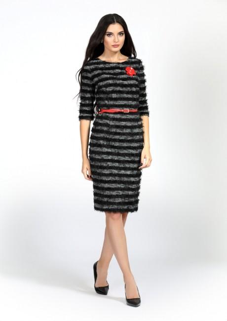 Повседневные платья Bazalini 2837 серо-черный