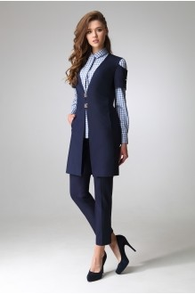 ЛаКона 1044-1 темно-синий/блуза-мелкая кл