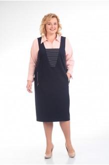 Прити 604 розовая рубашка/синий сарафан