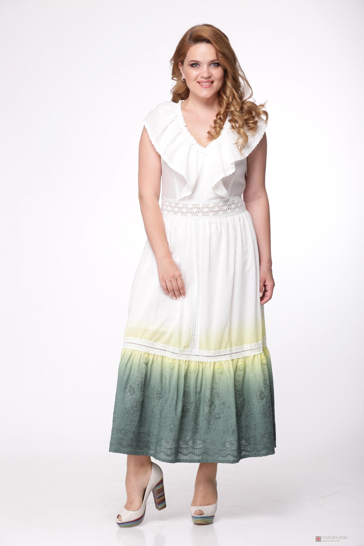 Сарафаны Надин-Н 1405 1 бело-зеленый. 7c25dd05521d6