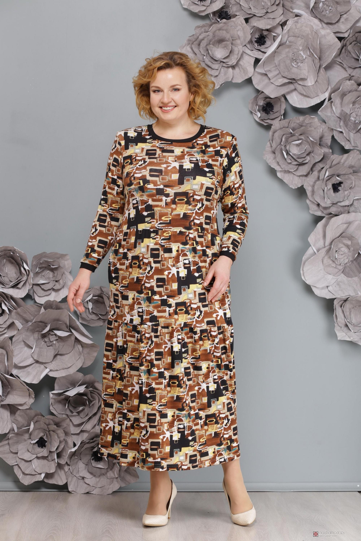 44bdf5bbae5c08a Длинные платья, платья в пол Надин-Н 1376/1 милитари коричневый