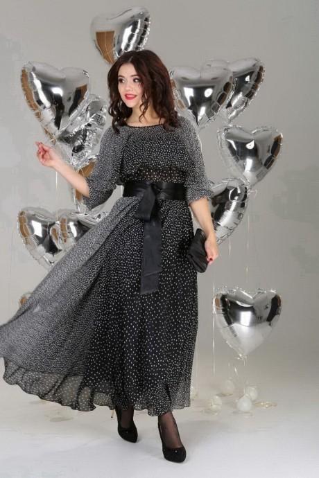 Длинные платья, платья в пол Anastasia 063 а черный с белым