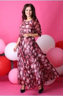 Длинные платья Anastasia 062.1 бордо с розовым фото 1