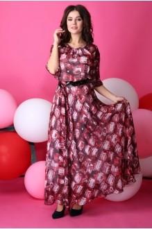 Длинные платья Anastasia 062.1 бордо с розовым фото 2