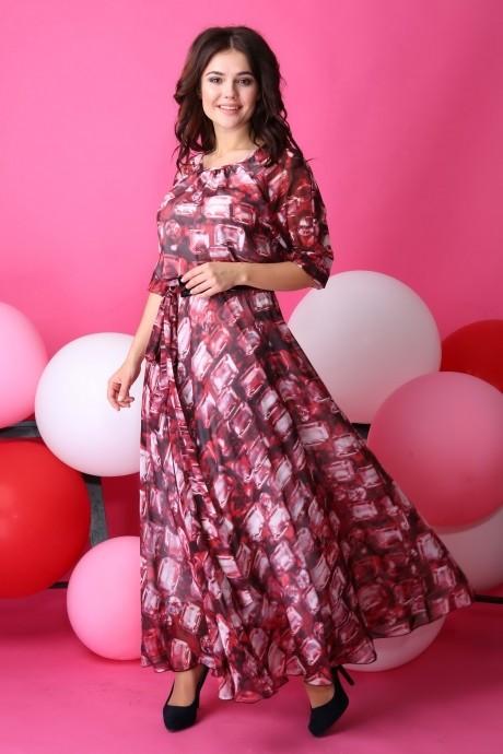 Длинные платья Anastasia 062.1 бордо с розовым