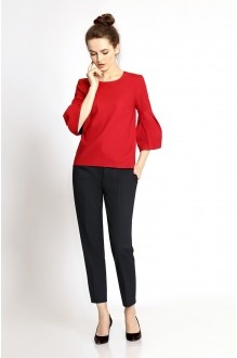PiRS 343 черные брюки/красная блуза