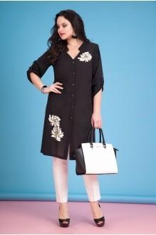 Лилиана 634В черный/белые брюки