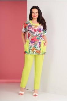 Ksenia Stylе 1479 розовый топ/желтые брюки