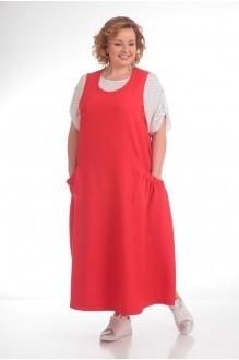 Прити 676 красный сарафан/рубашка в горох