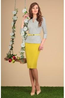 Юбочные костюмы /комплекты SandyNa 13382 черно-белый с желтым фото 2