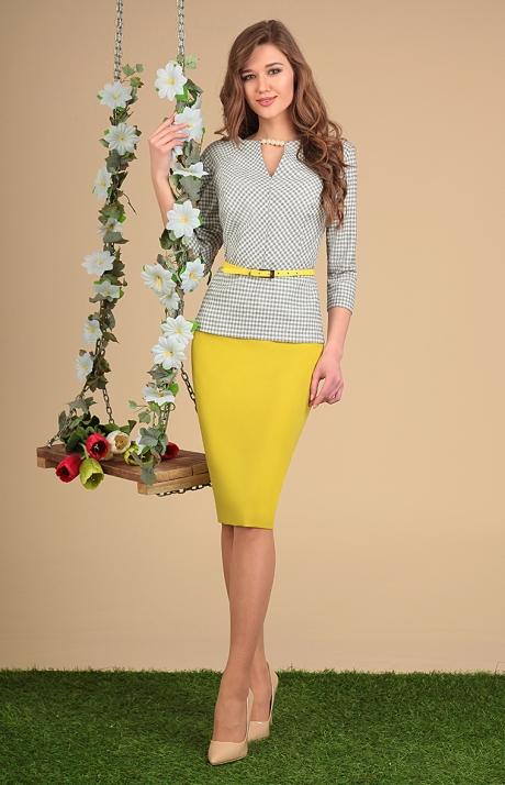 Юбочные костюмы /комплекты SandyNa 13382 черно-белый с желтым