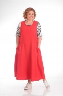 Прити 676 красный сарафан/рубашка полоска