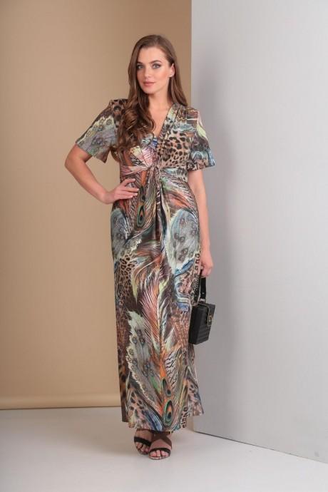 Длинные платья, платья в пол Анастасия Мак 483 коричнево-голубые оттенки