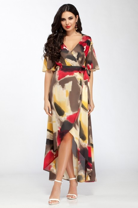 Длинные платья ЛаКона 1112/1 бордо с желтым