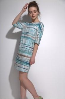 Повседневные платья PUR PUR 01-573 голубой орнамент фото 3
