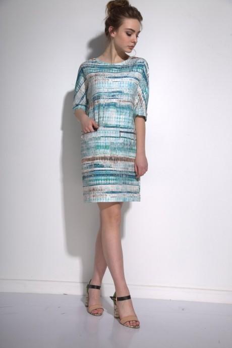 Повседневные платья PUR PUR 01-573 голубой орнамент