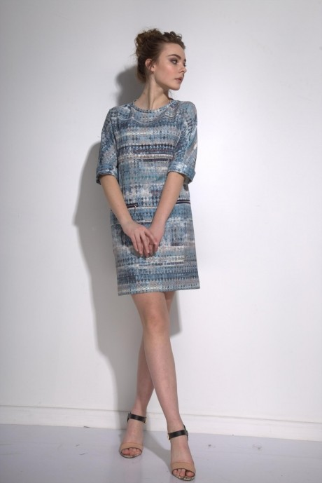 Повседневные платья PUR PUR 01-573 синий орнамент