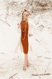 Люше 1809/2 кардиган цвета пудры + платье цвета корицы