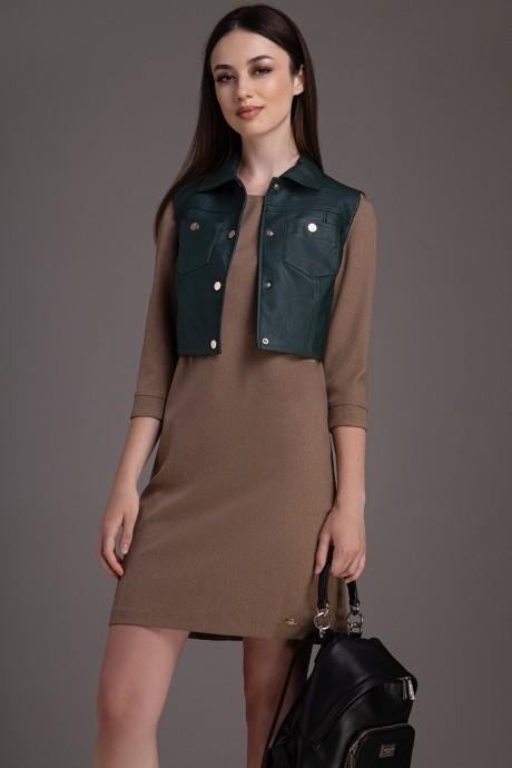 Юбочные костюмы /комплекты DilanaVIP 0024 коричневый+зеленый