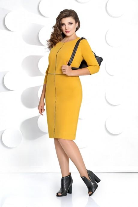 Мублиз 285 горчица+серая клетка (жакет+платье)