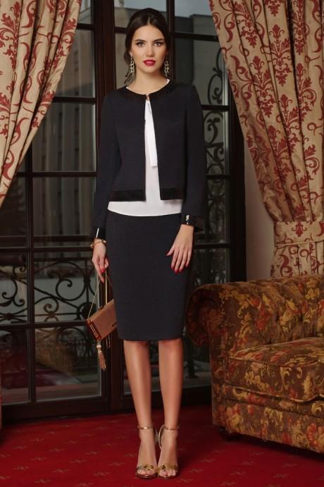 Юбочные костюмы /комплекты Lissana 3240/1 темно-синий+темно-серый