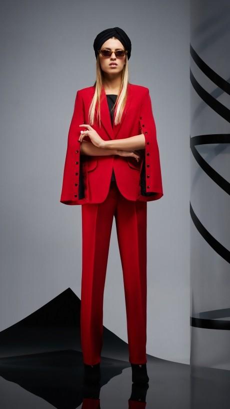 Брючные костюмы /комплекты DiLiaFashion 0164 -1 красный/чёрный