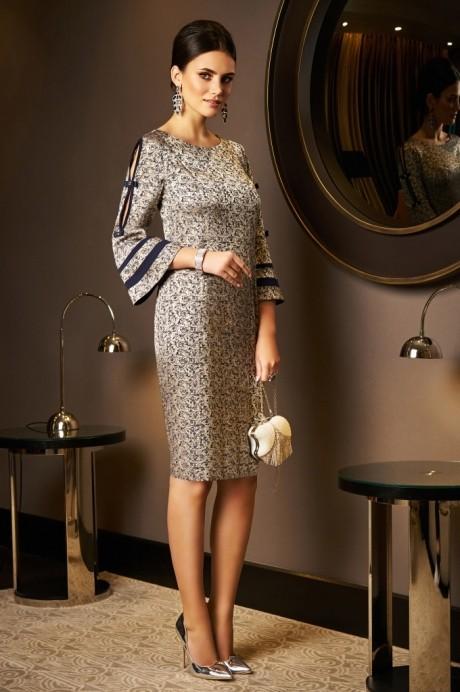 Вечерние платья Lissana 3536 золото+синий