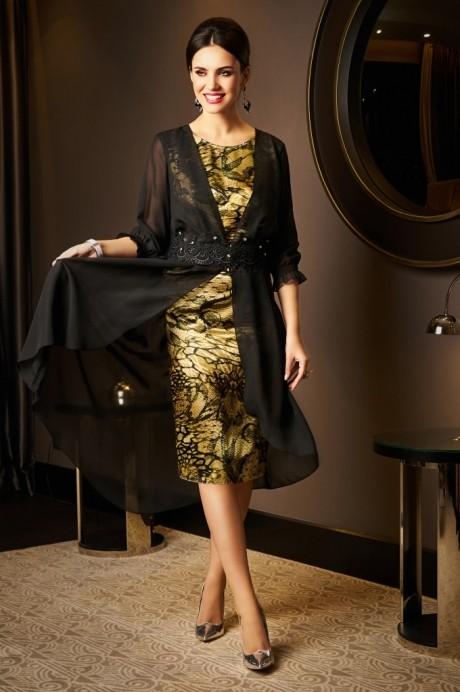 Вечерние платья Lissana 2975 черный+зеленый чай