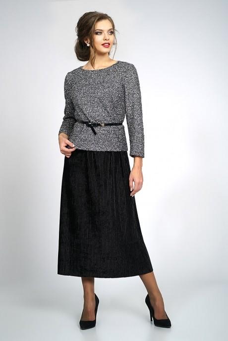 Юбочные костюмы /комплекты ALANI COLLECTION 829 блуза серебро+юбка черная