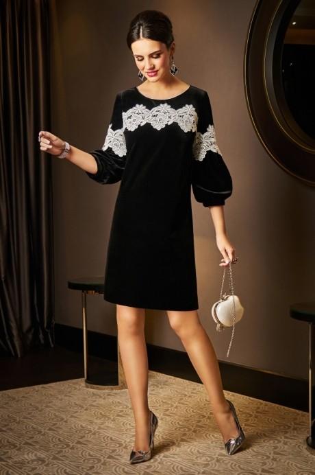 Вечерние платья Lissana 3531 черный+белое кружево