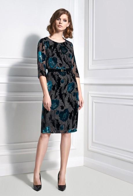 Вечерние платья Bazalini 3329 черно-бирюзовый