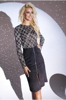 Люше 1900  черная юбка+блуза в дизайне