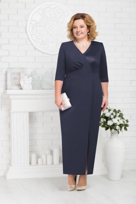 Длинные платья, платья в пол Нинель Шик 7216 темно-синий