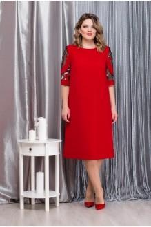 Надин-Н 1592 красный+кружево цветы на черной сетке