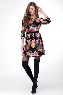 Ладис Лайн 1015-1 черно-цветочный принт