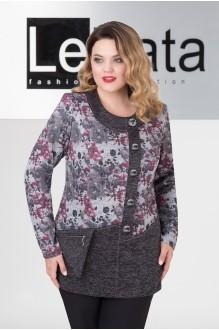 LeNata 11965 серый с цветами бордо