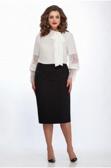 TEZA 135 блуза однотон/ чёрная юбка