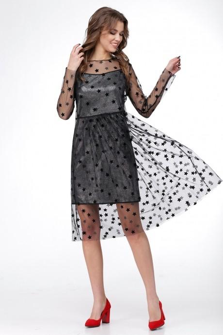 Вечерние платья Ладис Лайн 1029 серебристо-черный