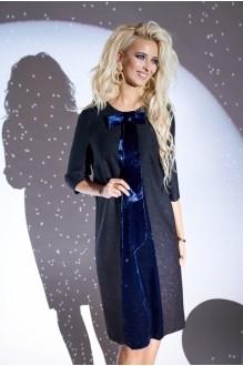 Модель *Распродажа Люше 1920 черное платье+синий бант