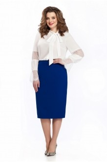 135 блуза однотон/ синяя юбка