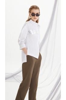 Брючные костюмы /комплекты DiLiaFashion 0207 белый/хаки фото 3