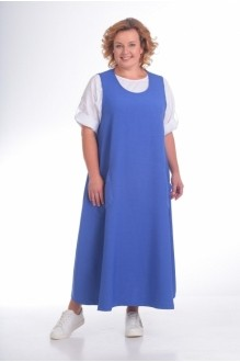 Модель *Распродажа Pretty 676 синий сарафан/рубашка однотон