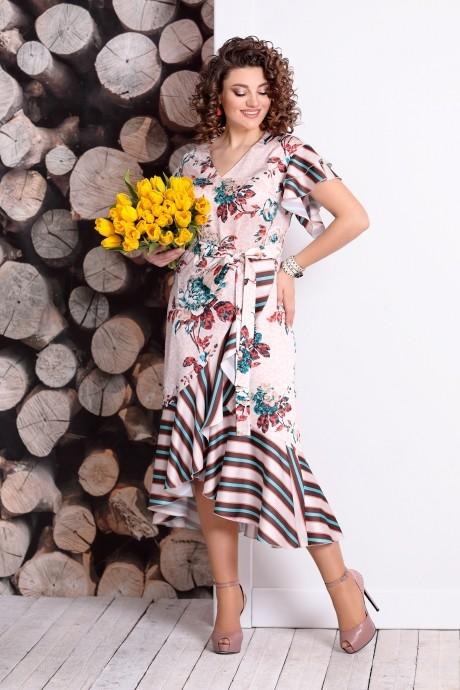 Летние платья Мублиз 331 беж+цветы+полоска